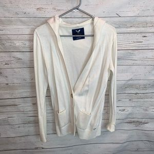 American Eagle Off White Hooded Cardigan